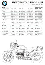 BMW Price List Oct 1985