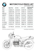 BMW Price List September 1986