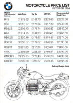 BWM Prices October 1984